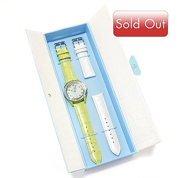 606-954 - Arm Candy by W Women's Quartz Baguette Crystal Strap Watch w/ Interchangeable White Leather Strap