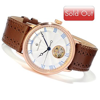 607-085 - Constantin Weisz Men's Mechanical Stainless Steel Open Heart Strap Watch