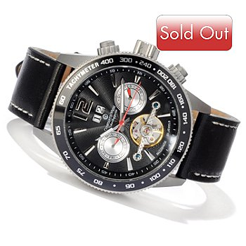 607-094 - Constantin Weisz Men's Automatic Open Heart Exhibition Back Strap Watch