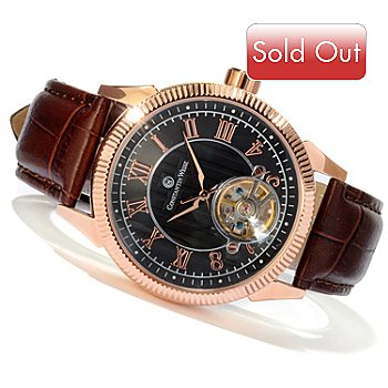 607-096 - Constantin Weisz Men's Automatic Stainless Steel Open Heart Strap Watch