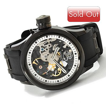 607-372 - Invicta Men's Quinotaur Russian Diver Mechanical Skeleton Dial Strap Watch
