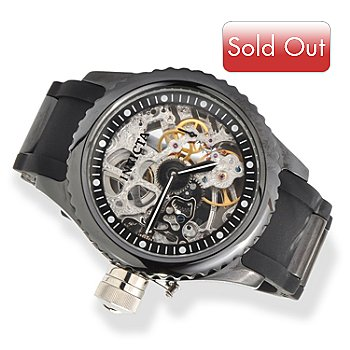 607-373 - Invicta Men's or Women's Russian Diver Mechanical Skeleton Ceramic Case Polyurethane Strap Watch