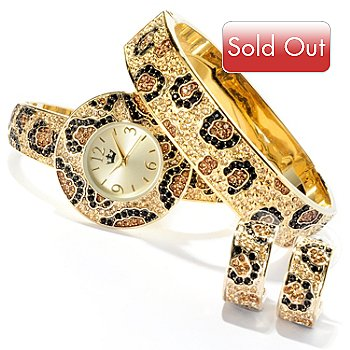 607-401 - Lady Diva Women's Quartz Crystal Accented Cuff Watch w/ Bangle Bracelet & Hoop Earring Set