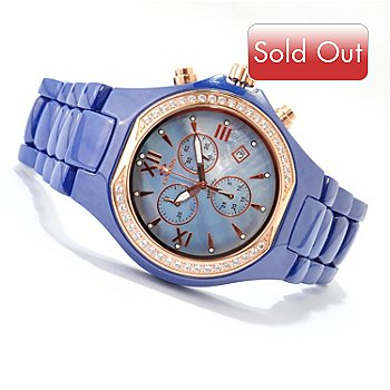 607-418 - Oniss Men's Adore Ceramica Crystal Accented Mother-of-Pearl Bracelet Watch