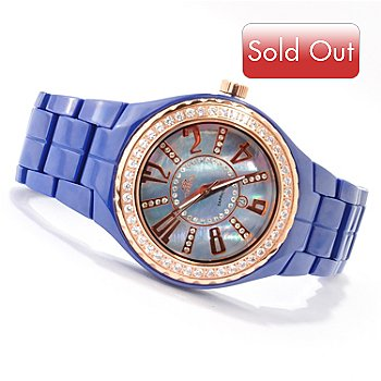 607-419 - Oniss Women's LaFayette Ceramic Crystal Accented Bracelet Watch