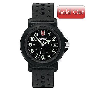 611-163 - Victorinox Swiss Army Men's Renegade Swiss Made Quartz Black Dial Rubber Strap Watch