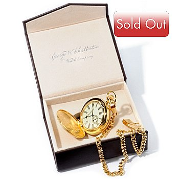 613-755 - Stauer Men's Mechanical 14K Gold Plated Pocket Watch