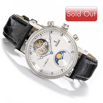 613-904 - Stauer Men's Corsican Mechanical Tourbillon Crocodile Strap Watch