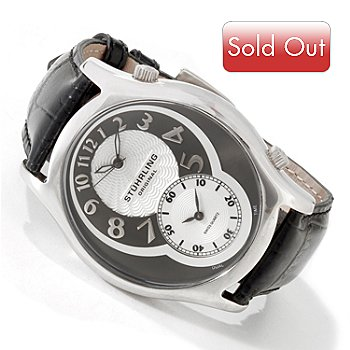 613-952 - Stuhrling Original Men's Kensington Grand Dual Time Quartz Strap Watch