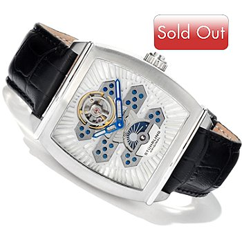613-967 - Stührling Original Men's Exposition Open Heart Automatic Leather Strap Watch