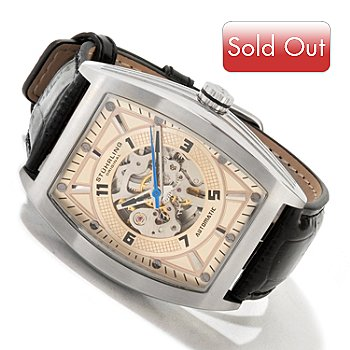 613-973 - Stührling Original Men's Millenia Prodigy Skeleton Automatic Leather Strap Watch