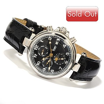 614-227 - Stauer Men's Noire Automatic Black Genuine Leather Strap Watch