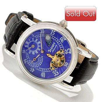 614-411 - Stauer Men's Series 7 Regulator II Automatic Open Heart Leather Strap Watch