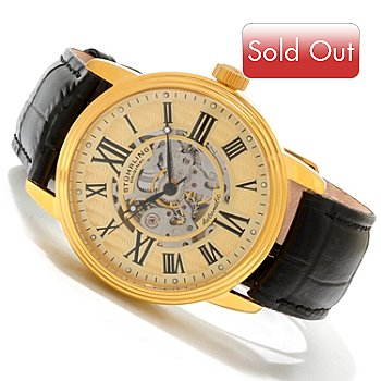 614-495 - Stuhrling Original Men's Delphi Venezia Automatic Skeletonized Dial Strap Watch