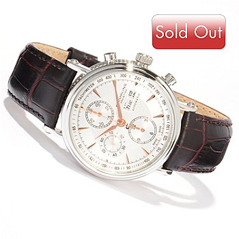 614-560 - Stührling Prestige Men's Paradigm Swiss Automatic Chronograph Leather Strap Watch