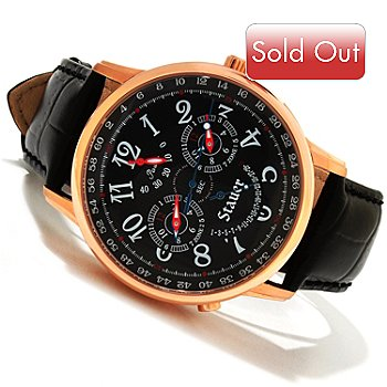 614-577 - Stauer Men's Dumont Automatic Dual-Time Leather Strap Watch