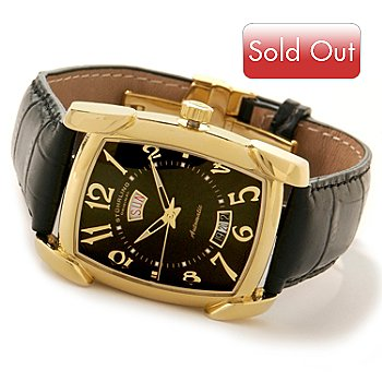 615-040 - Stührling Original Men's Madison Avenue Date Leather Strap Watch