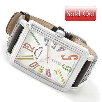 615-873 - Stuhrling Original Men's Uptown Ozzie Leather Strap Watch