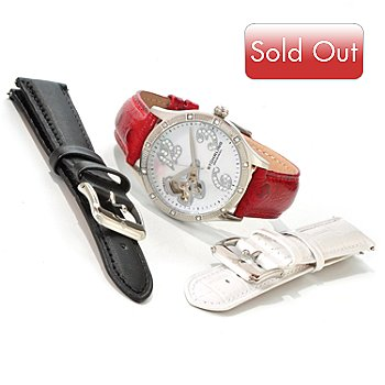 615-938 - Stührling Original Women's Audrey Freedom Automatic Watch w/ Extra Straps