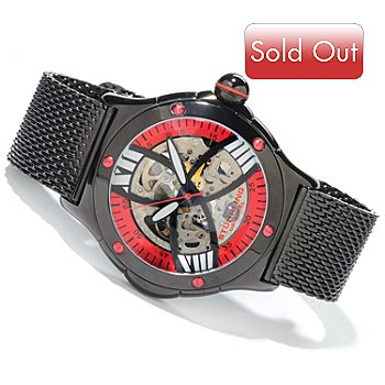 616-150 - Stührling Original Men's Alpine Slalom Skeletonized Automatic Mesh Bracelet Watch