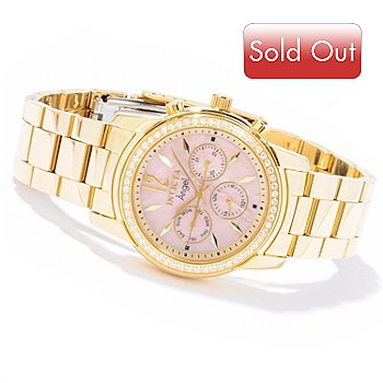616-510 - Invicta Women's Angel Quartz GMT Crystal Accented Stainless Steel Bracelet Watch