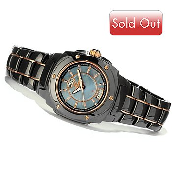616-707 - Oniss Galaxy Quartz Mother-of-Pearl Dial Rose-tone Accented Ceramic Bracelet Watch