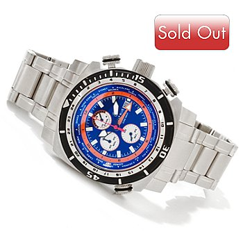 616-724 - Deep Blue Men's World Timer Quartz Chronograph GMT Stainless Steel Bracelet Watch