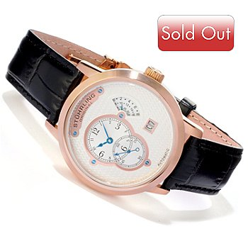 616-725 - Stührling Original Men's Eclipse Apogee Automatic Stainless Steel Case Leather Strap Watch