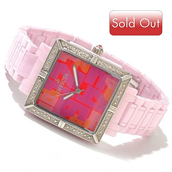 616-776 - Invicta Women's Classique Ceramic Quartz Square Diamond Accented Bracelet Watch