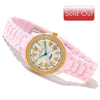 616-784 - Invicta Women's Angel Classique Ceramic Quartz Diamond Accented Gold-tone Bezel Bracelet Watch