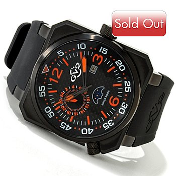 616-810 - GV2 by Gevril Men's XO Submarine Swiss Quartz Limited Edition Rubber Strap Watch