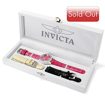 617-066 - Invicta Women's Pro Diver Ceramic Quartz Leather Strap Watch w/ Collector's Box