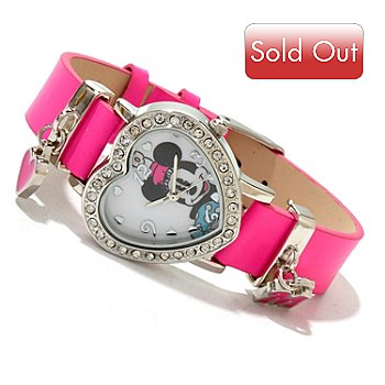 617-144 - Disney Women's Quartz Crystal Heart Shaped Strap Watch w/ Sliding Charms