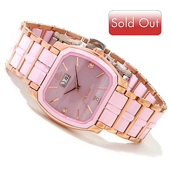 617-303 - Oniss Women's Ceramic Collection Quartz Mother-of-Pearl Stainless Steel Bracelet Watch