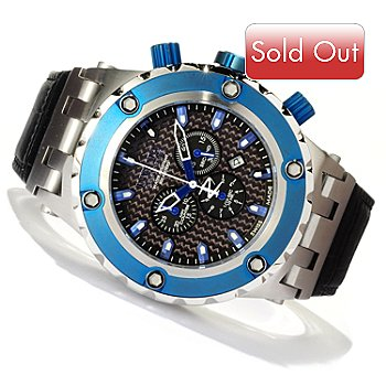 617-388 - Invicta Reserve Men's Specialty Subaqua Swiss Made Quartz Chronograph Blue Bezel Leather Strap Watch