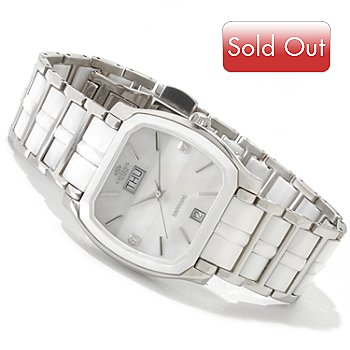 617-714 - Oniss Women's Mother-of-Pearl Crystal Accented Ceramic Bracelet Watch
