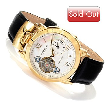 617-805 - Stuhrling Original Men's Braveheart Automatic Open Heart Strap Watch
