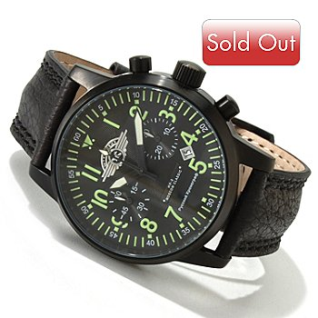 617-814 - Moscow Classic Men's Sturmovik Mechanical Chronograph Leather Strap Watch