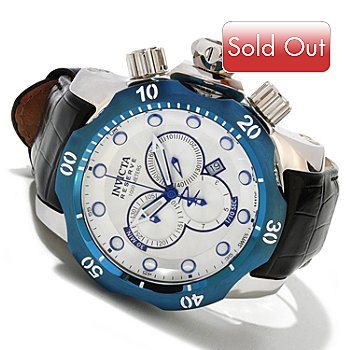 617-876 - Invicta Reserve Men's Venom Swiss Made Quartz Chronograph Leather Strap Watch