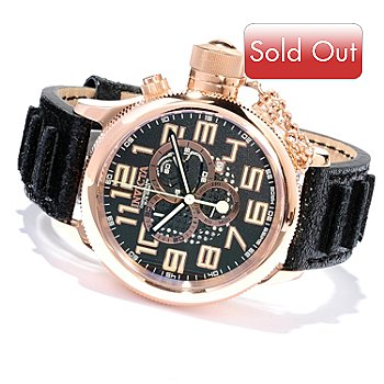 617-887 - Invicta Men's Russian Diver Swiss Made Quartz Chronograph Distressed Leather Strap Watch