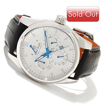 617-930 - Deep Blue Men's Fleet Admiral Automatic Stainless Steel Leather Strap Watch