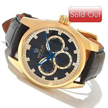 617-931 - Deep Blue Men's Fleet Admiral Automatic Stainless Steel Leather Strap Watch