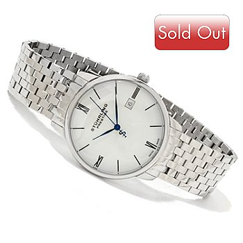617-973 - Stührling Prestige Men's Swiss Made Stainless Steel Bracelet Watch