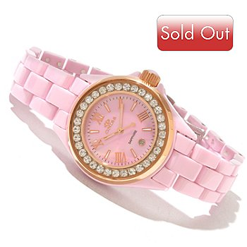618-112 - Oniss Women's Quartz Crystal Accented Mother-of-Pearl Dial Ceramic Bracelet Watch