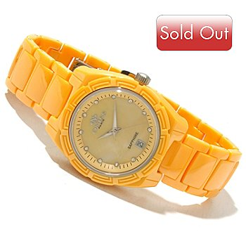 618-260 - Oniss Women's Quartz Crystal Accented Mother-of-Pearl Dial Ceramic Bracelet Watch