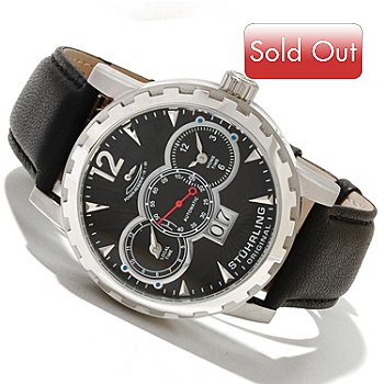 618-395 - Stührling Original Men's Louie XV Automatic Dual Time Leather Strap Watch