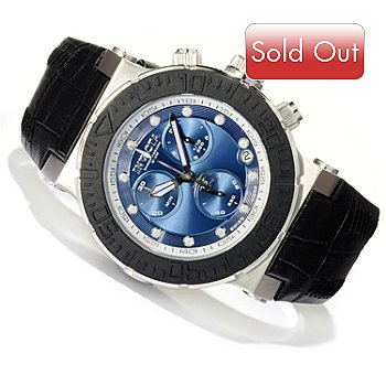 618-407 - Invicta Reserve Men's Ocean Reef Swiss Made Quartz Chronograph Leather Strap Watch