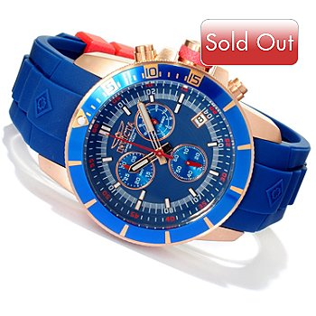 618-441 - Invicta Men's Ocean Baron Pro Diver Swiss Quartz Chronograph Polyurethane Strap Watch w/ Dive Case