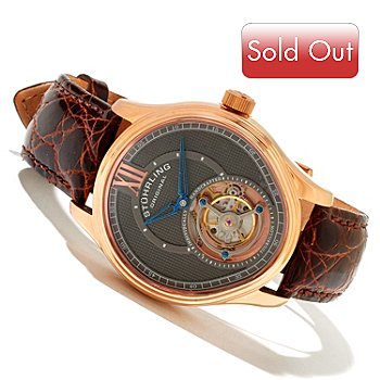 618-466 - Stührling Original Men's Everest Limited Edition Mechanical Tourbillon Crocodile Strap Watch