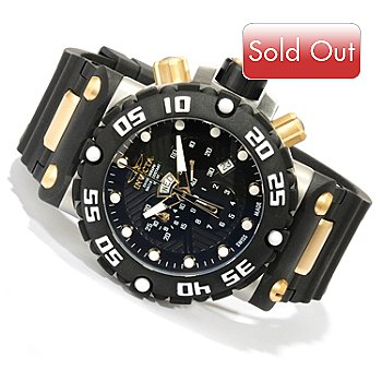 618-505 - Invicta Men's Subaqua Nitro Swiss Quartz Chronograph Polyurethane Strap Watch w/ 8-Slot Dive Case